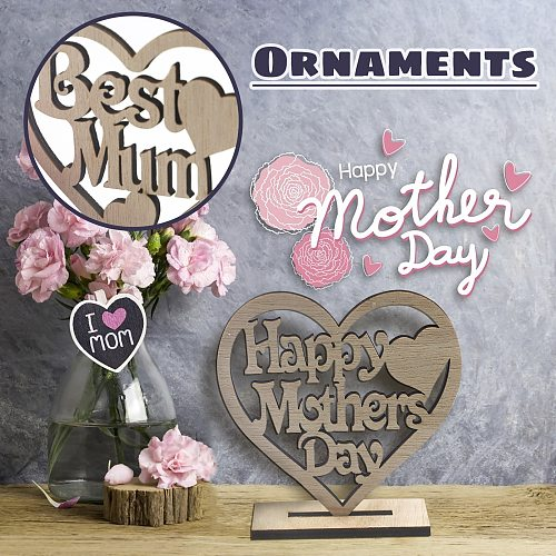 Home Decor Ornament Happy Mothers Day Best Mum Mummy Wooden Heart Plaque Freestanding Love for Mother's Day Woodblock Craft