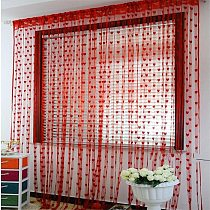 Curtain Candy Color Cute Heart Line Tassel String Door Window Room Divider Curtains Valance Fresh Simple Style Home Supplies Red