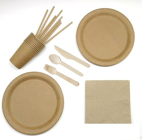 Serves 8 brown craft paper wedding birthday disposable party tableware dinnerware party supplies set paper plates cups straws