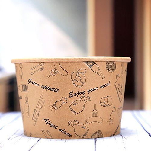 Fries Box Disposable Bowl Dinner Case Salad Box Lunch Box Cattle Paperboard Food Container Food Grade Wrapping Tools Dinnerware
