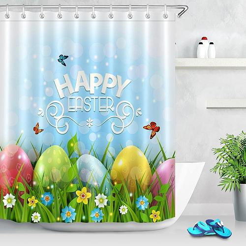 Happy Easter Eggs Shower Curtain For Bathroom Decoration Spring Butterfly Green Grass Flower Polyester Shower Curtains Bath Mat