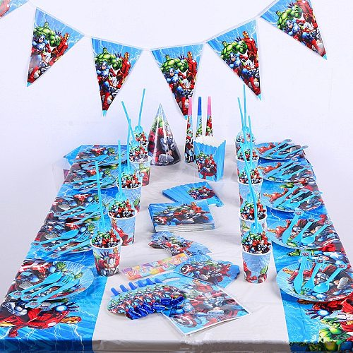 Hero Party Supplies Decorations Kids Birthday Disposable Tableware Tablecloth Cups Super Party Theme Favors Boy Set