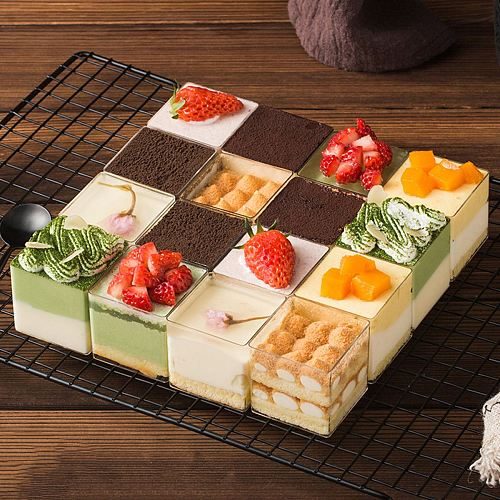 10pcs Transparent Square Plastic Cups For Desserts Mini Plastic Jelly Cup With Lid Dessert Container Food Mousse Cups With Lids