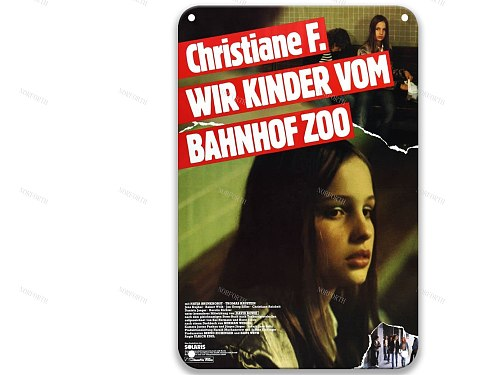 Christiane F. - Wir Kinder vom Bahnhof Zoo Post-modern Tin Signs Movies American Style Laundry Room for Home 8x12 Inches