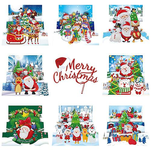 5D DIY Diamond Painting Cards Christmas Greeting Cards Birthday Postcards Embroidery Greet Cards Kit Xmas Gift for 2020 Kerstmis