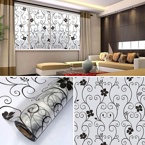 Waterproof Frosted Opaque Glass Window Film Frosted Black Pattern Privacy Protective Adhesive Glass Stickers For Bedroom JU0048