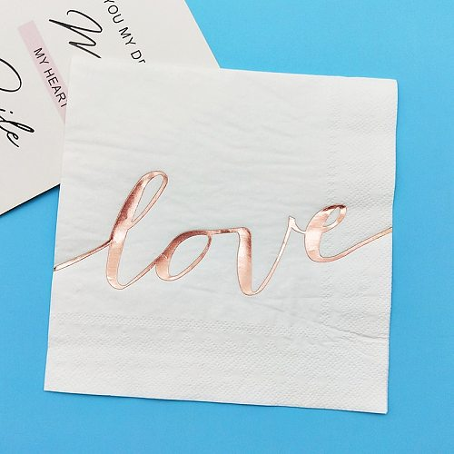 Rose Gold Love Script Napkins (80) Paper Cocktail Napkin 33cm towl for Wedding Reception Bridal Shower Decorations Tableware