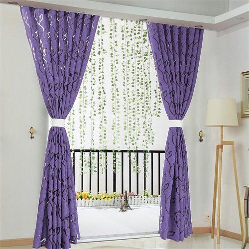 1 Pc Vines Leaves Door Window Curtain Drape Panel Sheer Scarf Valances Curtains For Living Room Bedroom Gordijnen QW