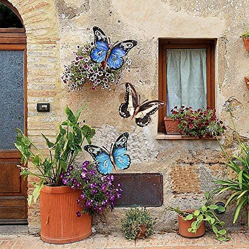 4pcs Metal Butterfly Wall Decoration Hanging Sculpture Wall Artwork Colorful Garden Decoration Animal Outdoor Statues for Yard