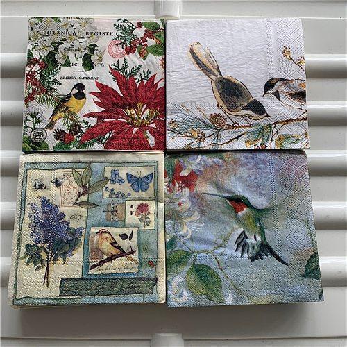 25cm Christmas vintage napkin paper elegant tissue flower bird nut decoupage wedding birthday party decor beautiful serviettes
