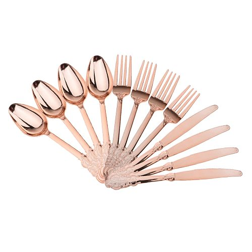 12pcs Plastic Cutlery Set Forks Spoons Disposable Tableware Rose Gold
