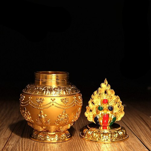 Tibetan Buddhism Fantastic Carving Gold Plated Alloy Lucky Valuable Bottle Auspicious Buddhist Decorative Holy Water Cup