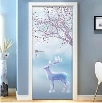 Door sticker bedroom  wooden door renovation self-adhesive paper door bathroom wall sticker kitchen-5