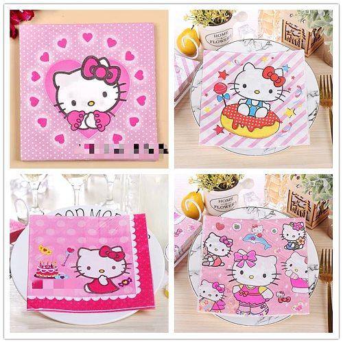 10pcs 33*33cm Love cat bow theme paper napkins serviettes decoupage decorated for wedding party virgin wood tissues