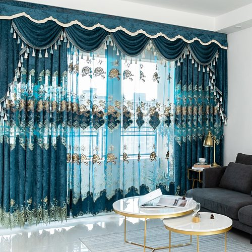 European Velvet Embroidery Chenille Modern Tulle Window Curtain Valance Decorate Curtains for Living Room Bedroom