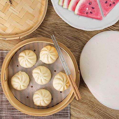 Baking Paper Air Fryer Liners Cookware 100 Pcs Disposable Steamer 3-12Inch Non-Stick Papers Paper Paper Liners Bamboo Steam H3J0