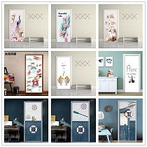 Flower Plume Alpaca Creative Door Poster PVC 3D Door Sticker Home Decor Furniture Cupboard Wardrobe Renovation Popular Wallpaper