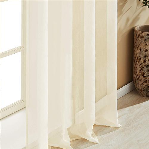 Topfinel Modern White Tulle Curtains for Living Room Multicolor Chiffon Solid Sheer Voile Window Curtains for Kitchen Pink white