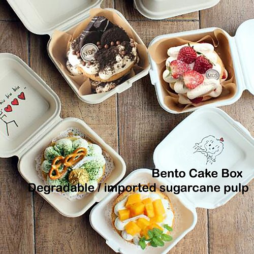 10PCS Disposable Bento Paper Storage Food Lunch Box Baking Cake Environmental protection Snack Box Containers take out container