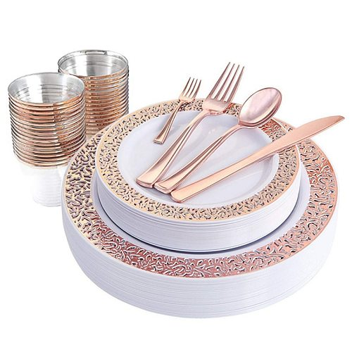 Hot 1 Sets of Rose Gold Disposable Tableware Set Cup Plastic Plate Table Knife Wedding Banquet Supplies