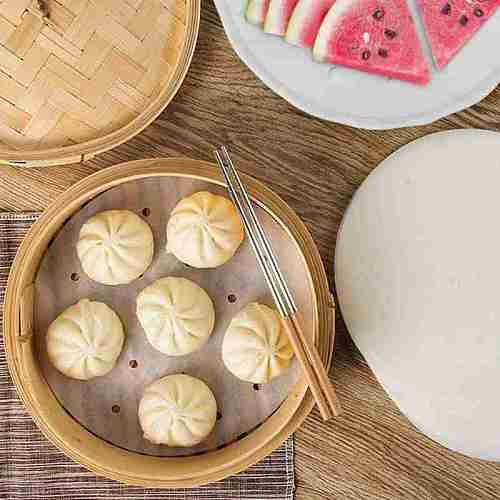 Baking Paper Air Fryer Liners Cookware 100pcs Disposable Liners Bamboo Non-Stick Steaming Papers Paper Steamer Papers E4M2