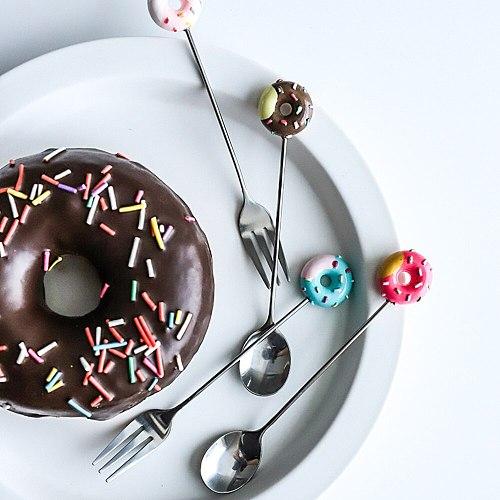 Mini Stainless Steel Lovely Doughnut Dessert Spoon Fork Tea Coffee Ice Cream Tool Home Kitchen Flatware Dinnerware Tableware