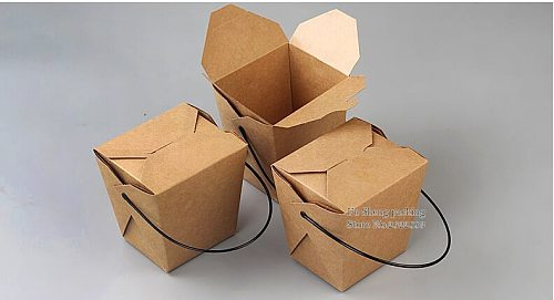 100pcs/lot Food grade Kraft paper lunch box With Handle,Disposable Fast food boxes,dogget Packaging Snack Box takeout containers
