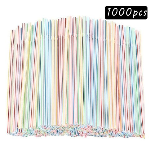 100-1000pc Plastic Drinking Straws 8 Inches Long Multi-Colored Striped Bedable Disposable Straw Party MultiColored Rainbow Straw