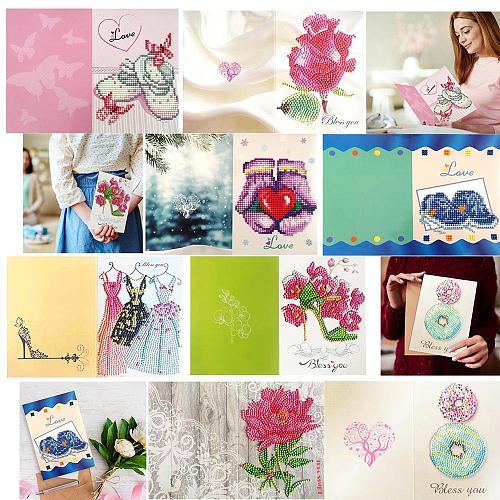 5D DIY Drills Diamond Painting Valentine Greeting Card Party Birthday Gifts Diamond Embroidery Cross Stitch Festival Greet Cards