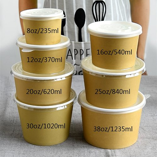 50pcs High quality kraft paper disposable soup cup 8oz/12oz/16oz round dessert ice cream yogurt takeaway paper cup with covers