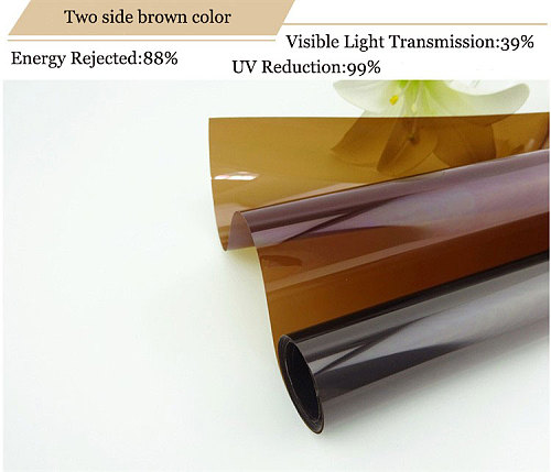 Custom Size Thermal Insulation Window Film Raamfolie Drop-Shipping Brown Tea Color Two Side UV-Proof One Way Mirror Film 150cm