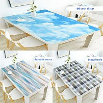 2D PVC Tablecloth Waterproof Rectangle Oil-proof Table Cloth Kitchen Table Cover Plastic Soft Glass Protect Dining Decor Desk