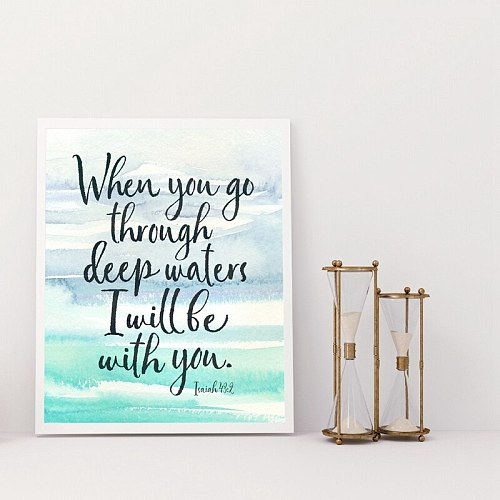 Bible Verse Quote Print Watercolor Ocean Poster Decoration Home Wall Art Canvas Painting Scripture Decor Gifts for Living Room