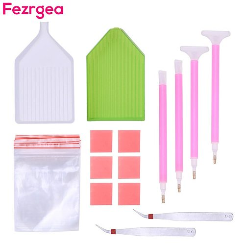 Fezrgea 5D Diamond Painting Accessories DIY Diamond Painting Cross Stitch Embroidery Pen Tools Set Mosaic Glue Pen Kit Tweezers