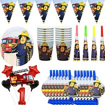 Fireman Sam Birthday Party Decorations Disposable Tableware Fire Engine Theme Paper Cups Plates Favors Baby Shower Supplies