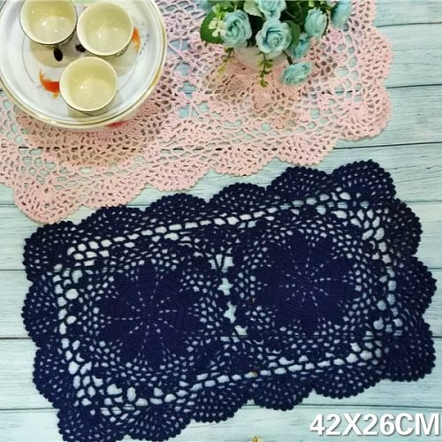 Vintage Rectangular Placemat For Dining Table Cup Place Mat Handmade Lace Doilies Crochet Flowers Coaster For Glass Kitchen Pad