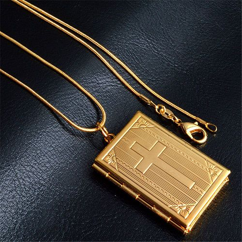 Cross Bible Photo frame Necklace Fashion Charms Square Memory Locket Can Open Pendants Necklaces Man Women Christian Gifts