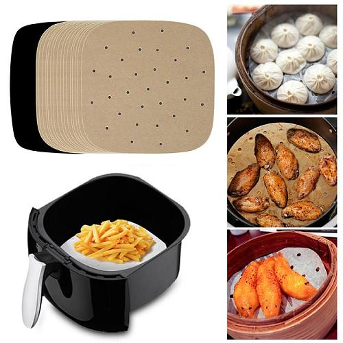 6-9inch Baking Paper Air Fryer Liners Cookware 100pcs Disposable Papers Non-Stick Bamboo Steamer Liners Paper Steaming Papers