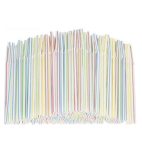 400pcs Disposable Straws Flexible Plastic Straws Striped Multi Color Rainbow Drinking Straws Bendy Straw Bar Accessories