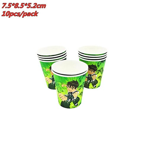 Ben 10 Theme Disposable Party Tableware Cup Plate Flag Napkins Bening 10 Birthday Party Supplies Baby Shower Kids Birthday Party