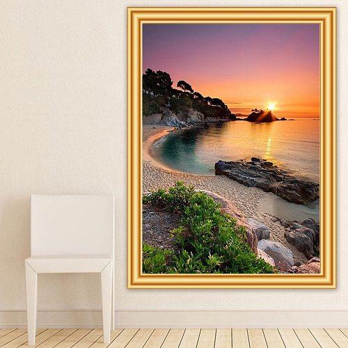 5D DIY Diamond Painting Landscape Sunset Beach Sea Cross Stitch Kit Full Drill Embroidery Mosaic Art Picture of Rhinestones Gift