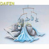 5D DIY Diamond painting Full Round Diamond mosaic Full Square Diamond embroidery Cross stitch sleeping  blue teddy bear toys