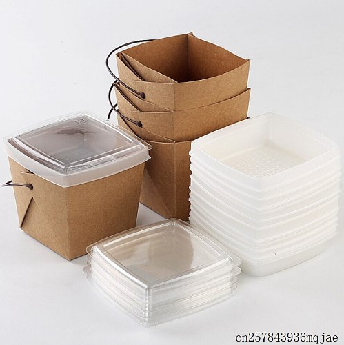 100 Pcs Disposable Fast Food Boxes Kraft Paper Lunch Box with Handle Dogget Packaging Snack Box Takeout Containers