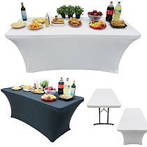 Stretch Rectangle Tablecloth Table Cover Black/White Spandex Table Cloth Wedding Party Table Cover Hotel Home Decor 1PC