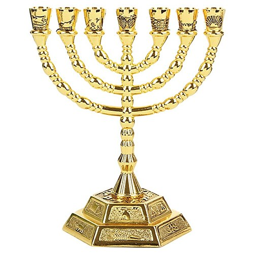 Golden Jewish Menorah Candle-Holders Religions Candelabra Hanukkah Candlesticks 7 Branch Menorah