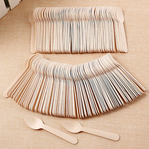100Pcs Disposable Wooden Spoon Ice Cream Scoop Coffee Honey Spoon Teaspoon Tableware Mini Cutlery Set Kitchen Accessories