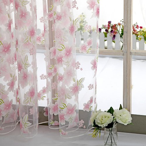 Flowers Tulle For Kitchen Living Room Bedroom Sheer Curtains Home Decoration Window Treatments Voile Panel Drapes tul perdeler