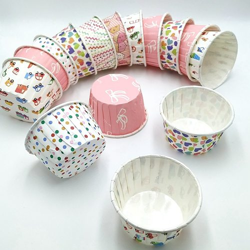 Aluminum Cups With Lids Party Paper Baking Cups No Smell, Cupcake Liners Disposable Paper Cups Yogurt Bowls Standard Baking Cups