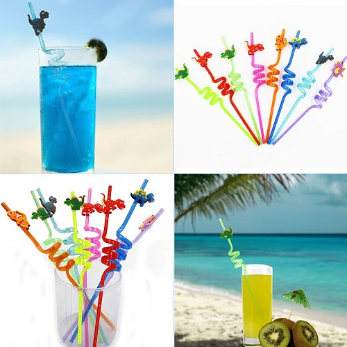 Wedding Birthday Party Supplies Mix 8pcs Straws Soft Disposable Colorful Small Dinosaur Plastic Curved Straws Drinking Straw