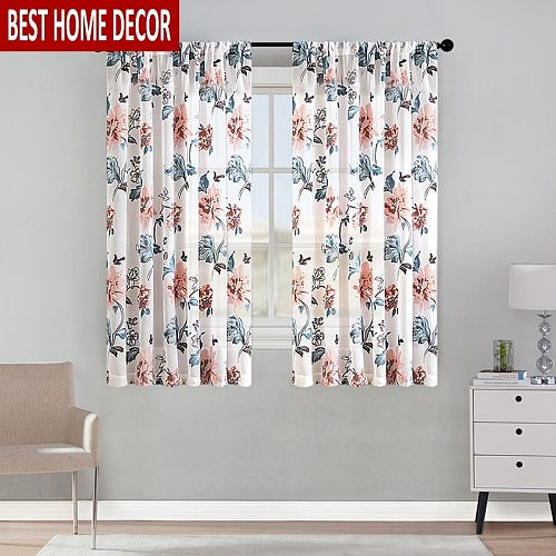 Elka Floral Short Curtains For Kitchen Voile Curtain For Living Room Modern Bedroom Sheer Curtains Screening Decor Window Drapes